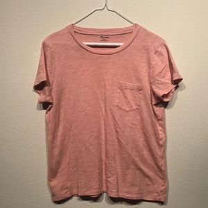 Madewell Tops - Madewell Pink Crew Neck Pocket T Shirt